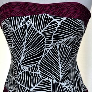 WHBM Bustier Zebra Leaf Abstract Print Top
